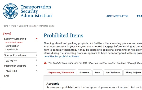 TSA Prohibited Items